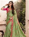 image of Embroidery Work On Sea Green Art Silk Fabric Festive Wear Saree With Designer Blouse