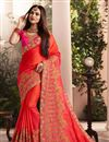 image of Embroidered Art Silk Fabric Red Occasion Wear Saree With Amazing Blouse