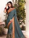 image of Grey Embroidered Sangeet Wear Art Silk Fabric Saree With Blouse