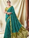 image of Festive Wear Art Silk Embroidered Fancy Saree In Cyan
