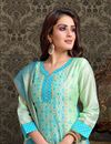 photo of Mesmeric Chanderi Silk Fabric Embroiderd Sea Green Designer Straight Cut Salwar Suit