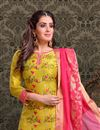 photo of Comforting Chanderi Silk Fabric Mustard Designer Straight Cut Suit With Embroidery Work