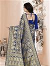 photo of Festive Wear Art Silk Weaving Work Navy Blue Saree