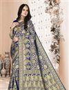 image of Festive Wear Art Silk Weaving Work Navy Blue Saree