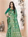 image of Green Color Festive Wear Weaving Work Saree In Art Silk