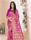 image of Festive Wear Magenta Color Art Silk Weaving Work Saree