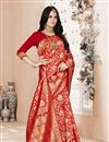 image of Art Silk Festive Wear Red Color Weaving Work Saree