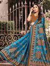 photo of Sky Blue Art Silk Festive Wear Digital Printed Saree