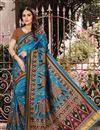 image of Sky Blue Art Silk Festive Wear Digital Printed Saree