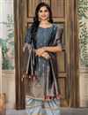image of Jacquard Fabric Grey Color Party Wear Palazzo Salwar Suit With Embroidery Work