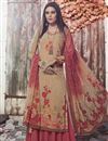 image of Fancy Casual Style Crepe Fabric Printed Palazzo Suit In Beige