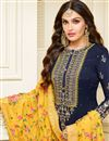 photo of Fabulous Satin Georgette Fabric Embroiderd Navy Blue Color Straight Cut Suit