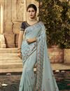 image of Embroidery Work On Cotton Fabric Party Wear Saree In Blue Color With Beautiful Blouse