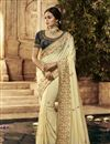 image of Beige Color Designer Saree In Cotton Fabric With Embroidery Designs And Attractive Blouse