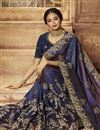 photo of Art Silk Fabric Navy Blue Color Occasion Wear Saree With Embroidery Work And Designer Blouse