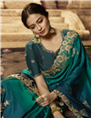 photo of Embroidery Designs On Art Silk Fabric Teal Color Party Wear Saree With Mesmerizing Blouse