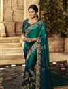 image of Embroidery Designs On Art Silk Fabric Teal Color Party Wear Saree With Mesmerizing Blouse
