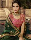 photo of Dark Green Color Fancy Fabric Designer Saree With Embroidery Work And Party Wear Blouse