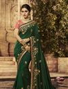 image of Dark Green Color Fancy Fabric Designer Saree With Embroidery Work And Party Wear Blouse