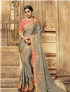 image of Embroidery Work On Satin Fabric Dark Beige Color Saree For Mehendi Ceremony