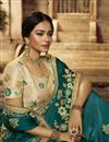 photo of Art Silk Fabric Designer Embroidered Saree In Teal Color With Attractive Blouse