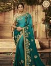 image of Art Silk Fabric Designer Embroidered Saree In Teal Color With Attractive Blouse