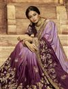 photo of Embroidery Work On Reception Wear Saree In Art Silk Fabric Purple Color With Charming Blouse