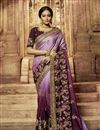 image of Embroidery Work On Reception Wear Saree In Art Silk Fabric Purple Color With Charming Blouse
