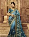 image of Art Silk Fabric Sky Blue Color Festive Wear Saree With Embroidery Work And Attractive Blouse