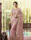 image of Net Fabric Designer Embroidered Saree In Pink Color With Attractive Blouse
