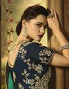 photo of Art Silk Fabric Cyan Color Festive Saree With Embroidery Work And Gorgeous Blouse