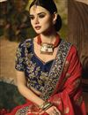 photo of Embroidery Work On Occasion Wear Saree In Red Color With Designer Blouse