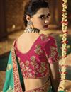 photo of Embroidery Work On Art Silk Fabric Dark Cyan Color Function Wear Saree With Marvelous Blouse