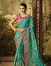 image of Embroidery Work On Art Silk Fabric Dark Cyan Color Function Wear Saree With Marvelous Blouse