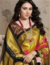 photo of Trendy Yellow Art Silk Puja Wear Digital Printed Saree