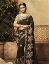 image of Mehendi Green Color Fancy Fabric Designer Saree With Embroidery Work And Party Wear Blouse