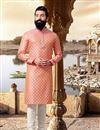 image of Jacquard Fabric Peach Designer Kurta Pyjama For Men