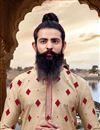 photo of Party Wear Cream Kurta Pyjama In Viscose Fabric For Men