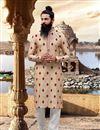 image of Party Wear Cream Kurta Pyjama In Viscose Fabric For Men