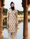 image of Eid Special Function Wear Cream Color Kurta Pyjama In Fancy Viscose Fabric For Men
