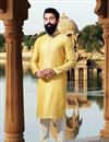 image of Function Wear Mens Fancy Kurta Pyjama In Yellow