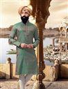 image of Eid Special Function Wear Teal Mens Kurta Pyjama