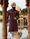 image of Eid Special Jacquard Fabric Mens Wear Kurta Pyjama In Maroon