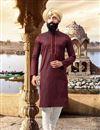 image of Eid Special Function Wear Maroon Mens Kurta Pyjama
