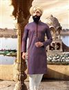 image of Eid Special Purple Jacquard Fabric Party Wear Kurta Pyjama For Men