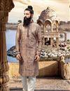 image of Jacquard Fabric Brown Function Wear Kurta Pyjama For Men