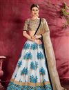 image of Off White Color Art Silk Fabric Wedding Wear 3 Piece Lehenga Choli