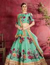 image of Light Teal Color Reception Wear Lehenga Choli In Art Silk Fabric