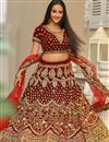 image of Embroidered Velvet Bridal Lehenga In Maroon Color with Designer Choli