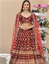 image of Velvet Maroon Color Reception Wear Lehenga Choli With Embroidery Work